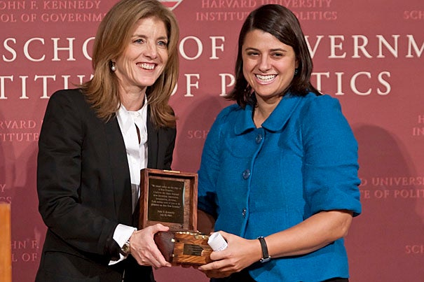 Caroline Kennedy '80 (left) presents the sixth annual John F. Kennedy New Frontier Award to Rebecca Onie '98, co-founder of Project HEALTH, a national organization that helps to connect low-income clients with the social resources they need to be healthy. Pennsylvania Rep. Patrick Murphy, the first Iraq War veteran to serve in Congress, also received the award.