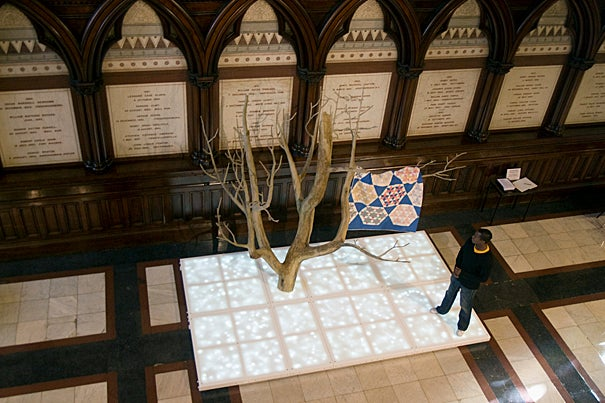 Sanford Biggers' artwork in the transept at Memorial Hall and Sanders Theatre.