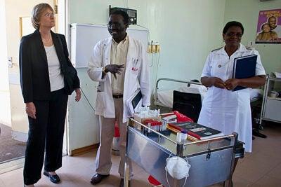 Harvard President Drew Faust tours Mochudi Hospital in the village of Mochudi, Botswana.