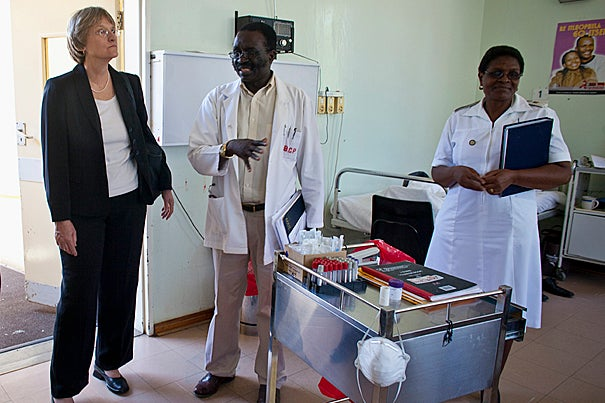 Harvard President Drew Faust tours Mochudi Hospital in the village of Mochudi, Botswana.