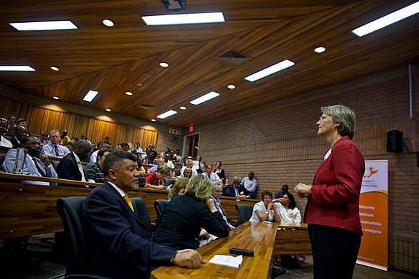 During her six-day trip highlighting Harvard's ties to the region, President Drew Faust spoke at the University of Johannesburg at Soweto, where she announced that Harvard and the host university were developing an initiative to train school principals in some of South Africa's most desperate regions.