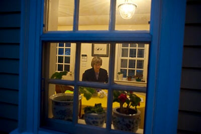 7 a.m. Harvard President Drew Faust edits a speech planned for the Greater Boston Chamber of Commerce while having breakfast at Elmwood, her Cambridge home.