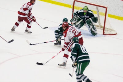 Alex Killorn '12, who scored twice and added an assist on Friday (Oct. 30), helped the Crimson to their first win of the season.