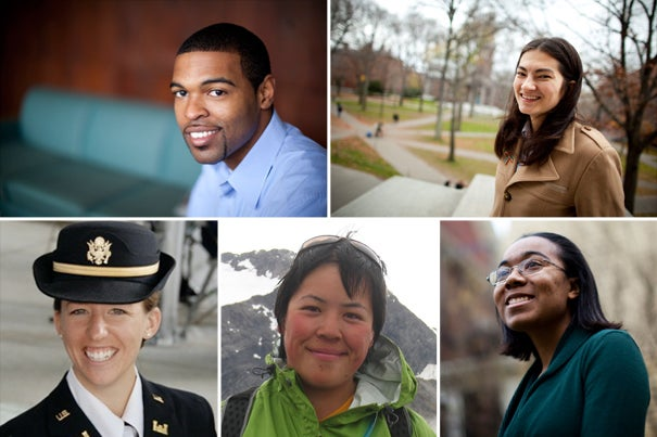 Two Harvard undergraduates and three recent graduates are among the 32 American men and women named Rhodes Scholars. They include (clockwise from top left) Darryl W. Finkton '10, Eva Z. Lam '10, Jean A. Junior '09, Grace Tiao '08, and Roxanne E. Bras '09.
