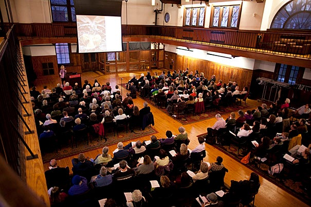 Elaine Pagels, the Princeton University professor of religion, famous for infusing old religious debates with new urgency, packed the Radcliffe Gymnasium, where she shared her latest thinking on Revelation, its cultural impact, and its historical underpinnings.