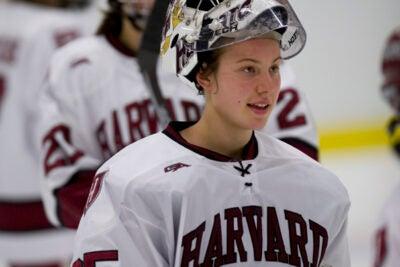 Harvard goaltender Christina Kessler '10 registered two shutouts against Minnesota this past weekend (Dec. 4-5).
