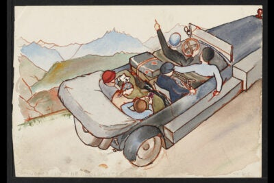 Cornelia James Cannon recounts a trip to Europe she took with her four daughters and her sister-in-law. This watercolor by Cannon's daughter Wilma illustrates her mother's typescript narrative.