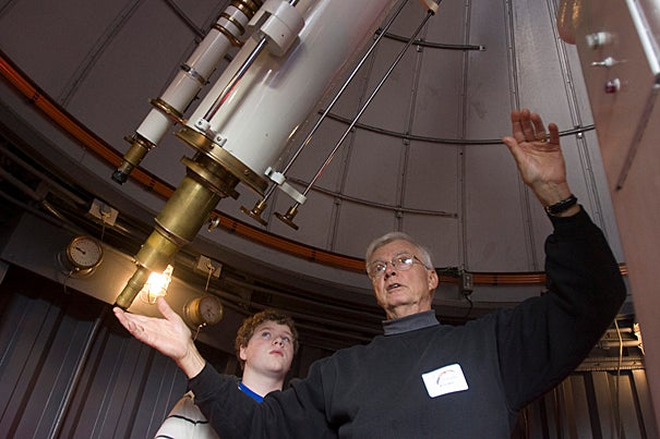 The Harvard-Smithsonian Center for Astrophysics' Bruce Ward teaches Kuss Middle School students from Fall River, Mass., during a visit to the Harvard Observatory's Great Refractor, Clark, and MicroObservatory telescopes.
