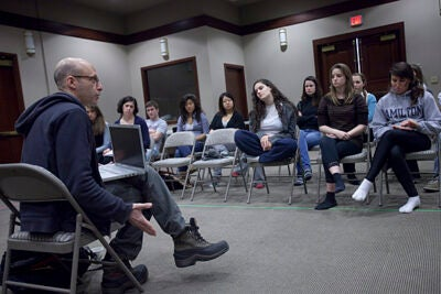 Marcus Stern, associate director of the American Repertory Theater/Moscow Art Theater School Institute for Advanced Theater Training, works with budding young actors during a special three-immersion program involving graduate-level training in the dramatic arts.