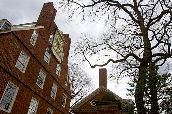 A view of Massachusetts Hall in Harvard Yard.