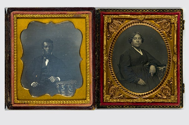 These two daguerreotypes, acquired in 2008 from a local dealer by the Harvard Art Museum's Department of Photographs, are currently on display in a rotating exhibition space at Harvard's Arthur M. Sackler Museum. The unidentified subjects, captured by an unknown artist, were likely taken in the 1840s or '50s in an urban setting such as New York, Philadelphia, or Boston.