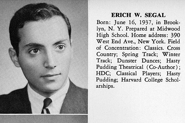 Love Story Author Erich Segal 72 Harvard Gazette