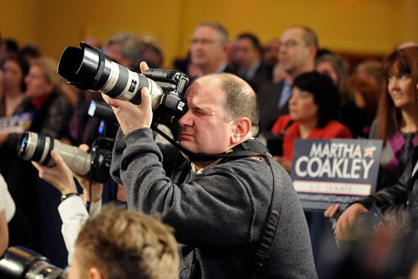 """Most recently, Mayes photographed Attorney General Martha Coakley's U.S. Senate campaign. Mayes still brightens when he talks about the exposure his work has received, citing the day when Coakley removed her """"official"""" portrait from her Facebook page and replaced it with one he shot of her."""