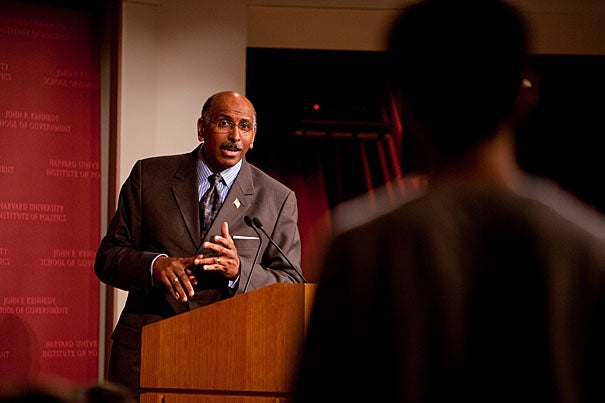Michael Steele, chairman of the Republican National Committee, delivered a public address and answered  questions from Harvard students at the Kennedy School .