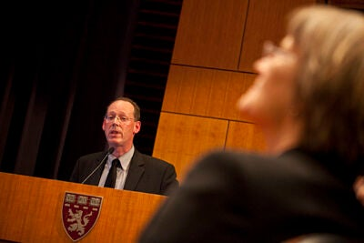 (Boston, MA - February 11, 2010) Harvard Medical School professor and founder of Partners in Health Paul Farmer speaks at the Med School about the aftermath of the earthquake in Haiti.  Staff Photo Justin Ide/Harvard University