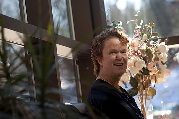 (Waltham, MA - February 11, 2010) - From left, Marie Trottier, University Disability Coordinator visits  the Partners Hospice in Waltham. Staff Photo Kris Snibbe/Harvard News Office