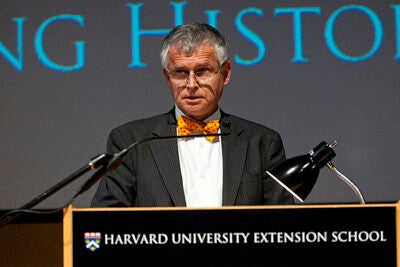 "(Cambridge, MA - February 18, 2010) Professor John R. Stilgoe talks during The Harvard Extension School presentation ""Writing History Now"", a panel discussion talking about the challenges of writing history in an electronic age at Lowell Lecture Hall. Staff Photo Kristyn Ulanday/Harvard University"
