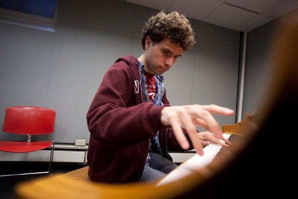 Matt Aucoin practicing in Wigglesworth House.
