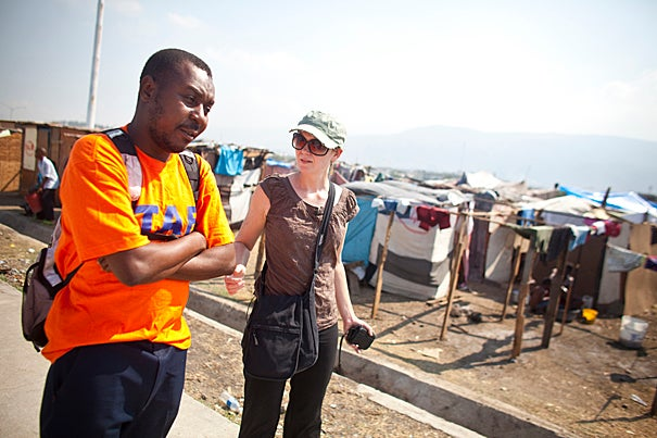 "(Port au Prince, Haiti - February 9, 2010)  After a devastating 7.0 earthquake on January 12, 2010, Partners in Health, with help from many Harvard University faculty and staff, worked tirelessly to bring aid to the stricken city and its people.   Dr. Louise Ivers of PIH visits a ""mobile health clinic"" that has sprung up and not holds about 45,000 people.  Staff Photo Justin Ide/Harvard University News Office"