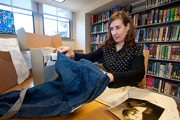 (Cambridge, MA - February 18, 2010) Marilyn Morgan, a Manuscript Cataloger for the Schlesinger Library posses for a portrait with a victorian era bathing suit. Staff Photo Kristyn Ulanday/Harvard University