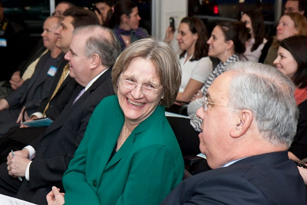 Boston Mayor Thomas M. Menino (right) and Harvard President Faust recognized recipients of the second round of Harvard Allston Partnership Fund grants at a ceremony Feb. 26.