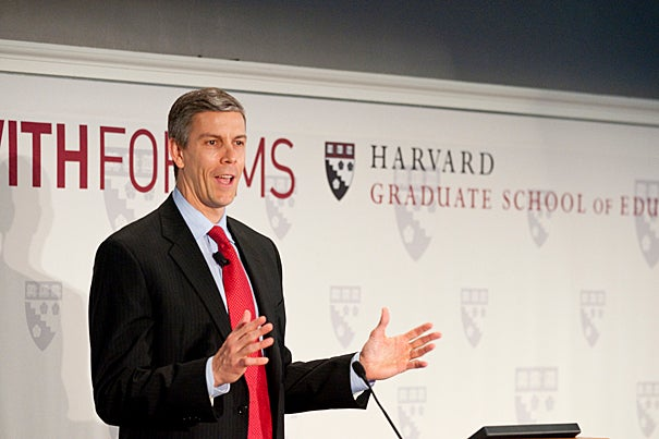 (Cambridge, MA - February 18, 2010) United States Secretary of Education Arne Duncan speaks about education reform in Longfellow Hall at the Harvard Graduate School of Education. Staff Photo Kristyn Ulanday/Harvard University