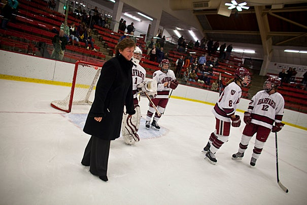 (Cambridge, MA - February 26, 2010) Katey Stone, the Landry Family Head Coach for Harvard Women's Ice Hockey, became the winningest coach in Women's NCAA Division I Ice Hockey in history, as the fourth-ranked Crimson women's hockey team defeated Princeton by a score 5-1 in Game 1 of the ECAC Hockey quarterfinals. Staff Photo Justin Ide/Harvard University News Office
