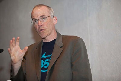 "Current U.S. farming and food systems are like much of modern Western life, intensively dependent on oil. Farming requires fertilizers, tractors, and carbon-based transportation systems, author-turned-activist Bill McKibben '82 told his audience at Harvard Divinity School. ""The food you eat is essentially marinated in fossil fuel before it reaches your lips."""
