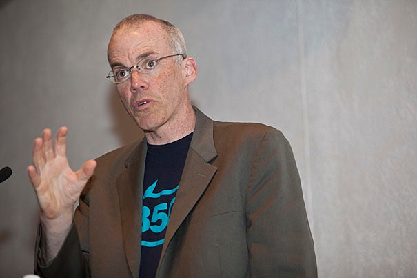 """Current U.S. farming and food systems are like much of modern Western life, intensively dependent on oil. Farming requires fertilizers, tractors, and carbon-based transportation systems, author-turned-activist Bill McKibben '82 told his audience at Harvard Divinity School. """"The food you eat is essentially marinated in fossil fuel before it reaches your lips."""""""