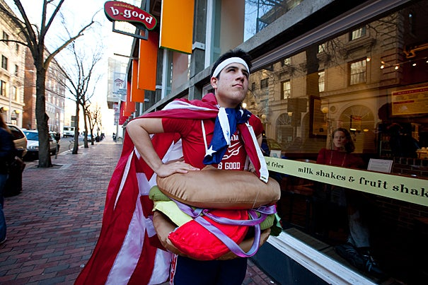 Sam Novey '11 is trying to raise $100,000 for Citizen Schools and will be running the Boston Marathon in April in a hamburger costume as part of his fundraising.