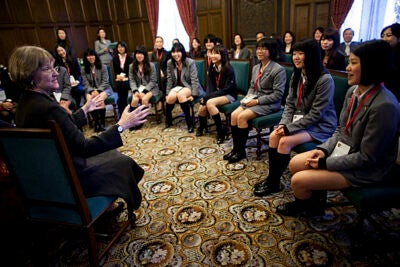 Harvard University President Drew Faust visits the Keio Girls Senior High School in Tokyo. Drew Faust (left) speaks to a gathering of students. Staff Photo Stephanie Mitchell/Harvard University News Office