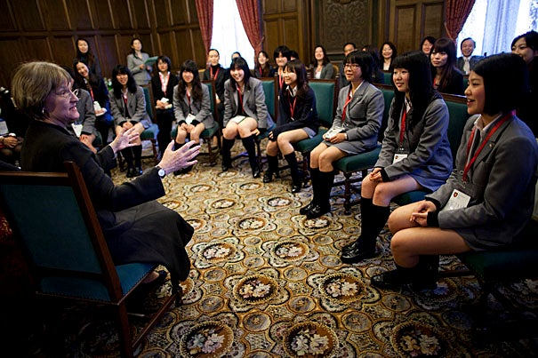 (Tokyo, Japan - March 16, 2010) - Harvard University President Drew Faust visits the Keio Girls Senior High School. Drew Faust (left) speaks to a gathering of students. Staff Photo Stephanie Mitchell/Harvard University News Office