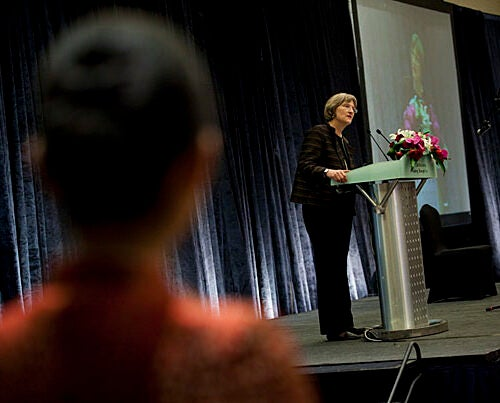 Harvard President Drew Faust delivers her speech during the Harvard Center Shanghai celebratory banquet and reception.