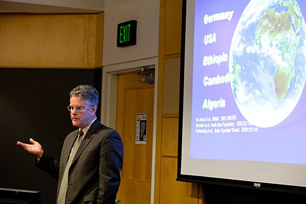 (Boston, MA.--Tuesday, March 23, 2010)--  The Harvard University School of Public Health hosted speaker, Terry Keane a psychiatry professor at Boston University and expert in Post Traumatic Stress Disorder. His talk was part of the Barry Bloom Leadership series.  Staff Photo Rose Lincoln/Harvard News Office