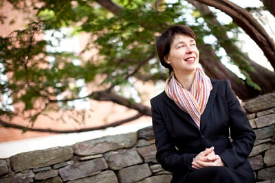 (Cambridge, MA - March 25, 2010) - Australian historian and Radcliffe Fellow Claire Roberts researches photography in China. She is pictured in the Radcliffe Sunken Garden. Staff Photo Stephanie Mitchell/Harvard University News Office