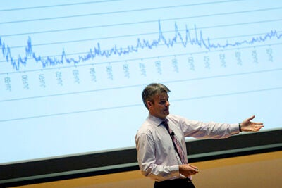 "Stephen Blyth, the managing director of Harvard Management Company, introduces students to modern financial markets in his statistics class, ""Applied Quantitative Finance on Wall Street."""
