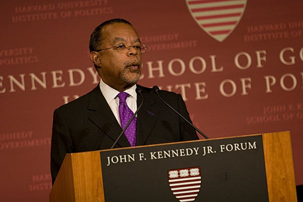 (Cambridge, MA - December 12, 2008) Henry Louis Gates, Jr., Director of the W. E. B. Du Bois Institute for African and African American Research, delivers opening remarks during Fridays Du Bois Medal Ceremony in the John F. Kennedy Forum of the Kennedy School of Government.  Staff Photo Nick Welles/Harvard News Office