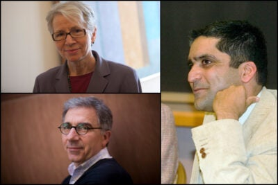 "Christie McDonald (clockwise from top left), Rakesh Khurana, and Douglas Melton have been appointed House masters. ""I'm tremendously pleased that such outstanding scholars — and talented, enthusiastic members of the Harvard community — will be taking on these important and influential roles,"" said Harvard College Dean Evelynn M. Hammonds in making the announcement."