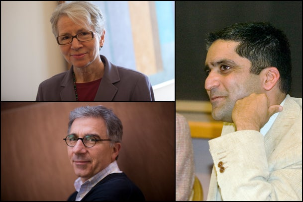 """Christie McDonald (clockwise from top left), Rakesh Khurana, and Douglas Melton have been appointed House masters. """"I'm tremendously pleased that such outstanding scholars — and talented, enthusiastic members of the Harvard community — will be taking on these important and influential roles,"""" said Harvard College Dean Evelynn M. Hammonds in making the announcement."""