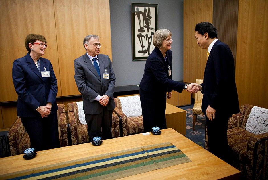 Susan Pharr (from left), Charles Rosenberg, and Drew Faust meet Japanese Prime Minister Yukio Hatoyama. Stephanie Mitchell/Harvard Staff Photographer
