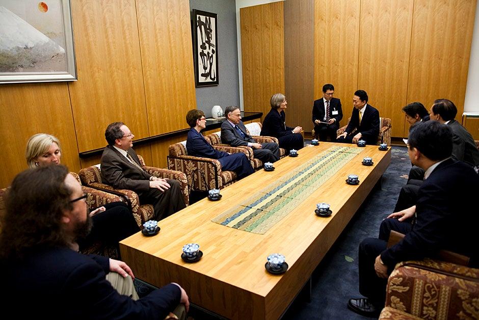 Faust speaks to Hatoyama through his translator.   Stephanie Mitchell/Harvard Staff Photographer