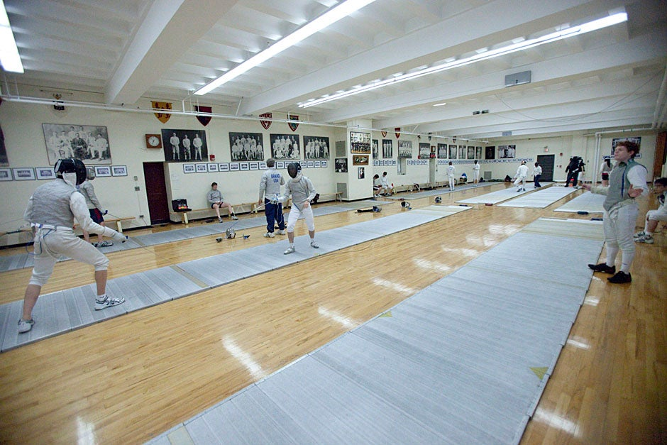 Harvard fencing coach Peter Brand leads practice.  Kris Snibbe/Harvard Staff Photographer