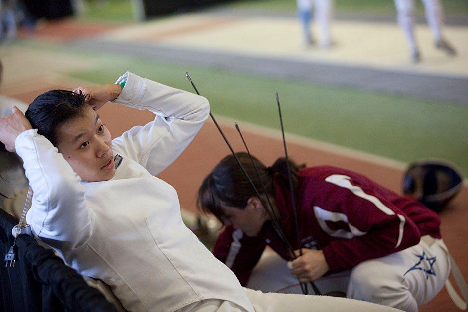Felicia Sun '13 maxes and relaxes.  Kris Snibbe/Harvard Staff Photographer
