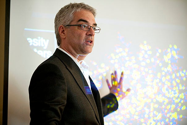 (Cambridge, MA - April 1, 2010) Medical Sociologist Professor Nicholas Christakis speaks to students in the Lowell House Junior Common Room as part of the Last Lecture Series about social networks and the connections between groups of people.  Staff Photo Kristyn Ulanday/Harvard University
