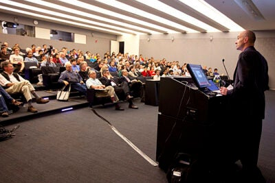 David MacKay, chief scientific adviser to the Department of Energy and Climate Change from the United Kingdom speaks about sustainable energy solutions in room B103 at the Northwest Science Building. Staff Photo Kristyn Ulanday/Harvard University