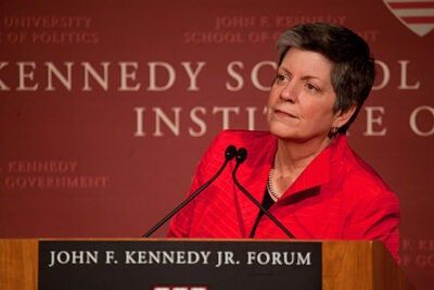 "Secretary Janet Napolitano of the U.S. Department of Homeland Security urged Americans to ""be prepared, not scared"" in confronting domestic and international terrorism. Napolitano gave a speech and answered student questions during an appearance at the John F. Kennedy Jr. Forum."