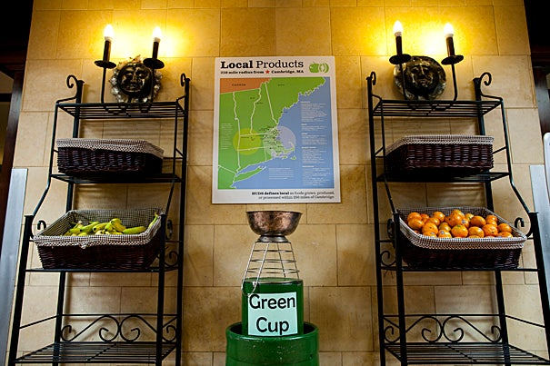 The awarding of the Green Cup was one of the highlights of the Earth Day festival at Harvard. Adams House took home the coveted trophy, which it proudly displays in the the servery of the Adams House dining hall.