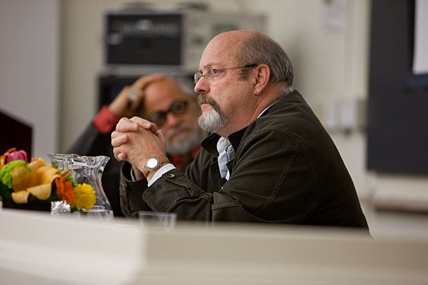 "Homi Bhabha (left) and Allan Sekula in a conversation during ""The Church of What's Happening Now,"" an event sponsored by the Humanities Center and the Harvard Art Museum."