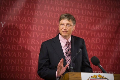 "Bill Gates will be at Harvard on April 21 to deliver his address: ""Giving Back: Finding the Best Way to Make a Difference."""