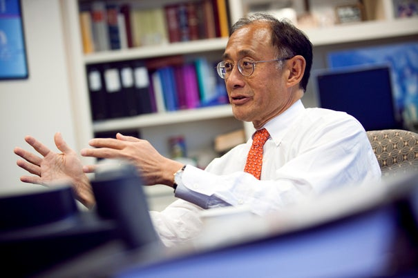 (Boston, MA - March 29, 2010) - William F. Lee, the newest member of the Harvard Corporation, participates in a Q&A with the Harvard Gazette from his law office in Boston. Staff Photo Stephanie Mitchell/Harvard University News Office